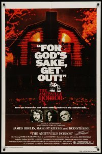 4t050 AMITYVILLE HORROR 1sh '79 great image of haunted house, for God's sake get out!