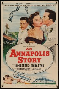 4t052 ANNAPOLIS STORY 1sh '55 John Derek, Kevin McCarthy, 2 brothers loving the same girl!