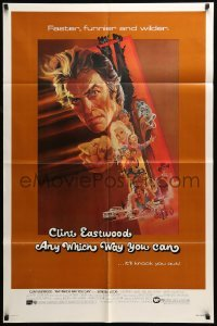 4t054 ANY WHICH WAY YOU CAN 1sh '80 cool artwork of Clint Eastwood & Clyde by Bob Peak!