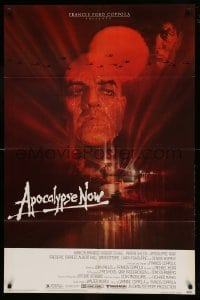 4t055 APOCALYPSE NOW 1sh '79 Francis Ford Coppola, classic Bob Peak art of Brando and Sheen!
