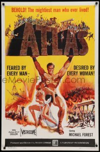 4t058 ATLAS 1sh '61 great artwork of mightiest gladiator Michael Forest!