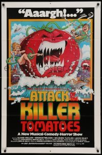 4t059 ATTACK OF THE KILLER TOMATOES 1sh '79 wacky monster artwork by David Weisman!