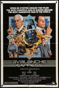 4t060 AVALANCHE EXPRESS 1sh '79 Lee Marvin, Robert Shaw, cool action art by Larry Salk!