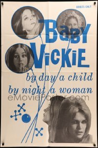 4t062 BABY VICKIE 1sh '69 sexy Sharon Matt in title role, by day a child by night a woman!