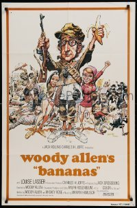 4t066 BANANAS int'l 1sh R80 wacky images of Woody Allen, Louise Lasser, classic comedy!