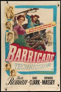 4t069 BARRICADE 1sh '50 Jack London, Ruth Roman is a treasure to fight for!