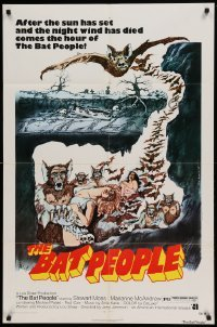 4t070 BAT PEOPLE revised 1sh '74 AIP, cool horror artwork, It Lives By Night!