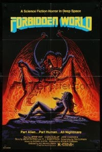 4t336 FORBIDDEN WORLD 1sh '82 Roger Corman, cool sci-fi art of giant monster attacking sexy girl!