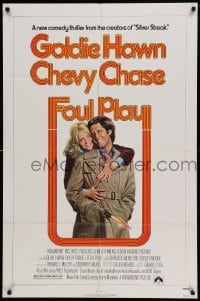 4t337 FOUL PLAY 1sh '78 wacky Lettick art of Goldie Hawn & Chevy Chase, screwball comedy!