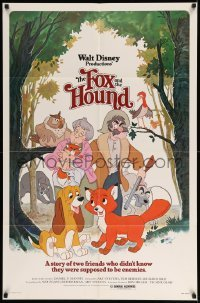 4t340 FOX & THE HOUND 1sh '81 two friends who didn't know they were supposed to be enemies!