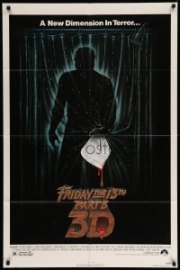 4t342 FRIDAY THE 13th PART 3 - 3D 1sh '82 slasher sequel, art of Jason stabbing through shower!