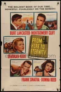 4t345 FROM HERE TO ETERNITY 1sh '53 Burt Lancaster, Deborah Kerr, Sinatra, Reed, Clift
