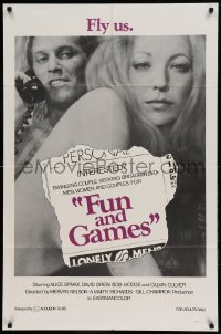 4t351 FUN & GAMES 1sh '73 Alice Spivak, David Drew, swinging couples, fly us!