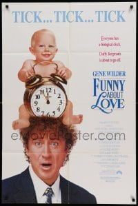 4t352 FUNNY ABOUT LOVE 1sh '90 wacky image of Gene Wilder, directed by Leonard Nimoy!
