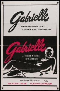 4t355 GABRIELLE 1sh '70 trapped in a cult of sex and violence, different sexy artwork!