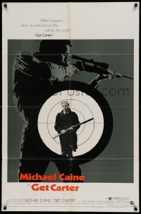 4t360 GET CARTER 1sh '71 cool image of Michael Caine holding shotgun!