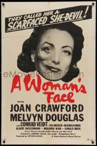 4t001 WOMAN'S FACE 1sh '41 they called Joan Crawford a scarfaced she-devil, different, ultra rare!