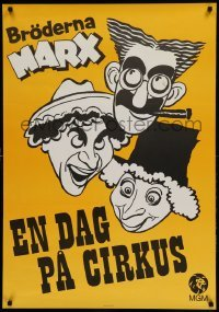 4y046 AT THE CIRCUS Swedish R70 wacky different art of Groucho, Chico, & Harpo Marx!