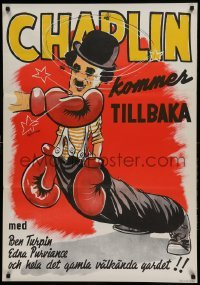 4y049 CHAMPION Swedish R44 completely different boxing art of Charlie Chaplin by Bjorne!