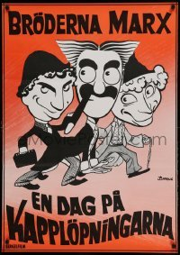 4y052 DAY AT THE RACES Swedish R72 Bjorne artwork of the Marx Brothers, horse racing!