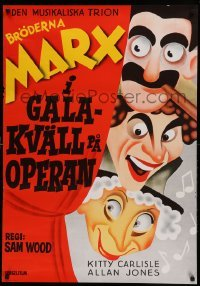 4y059 NIGHT AT THE OPERA Swedish R72 great completely different art of Groucho, Chico & Harpo Marx