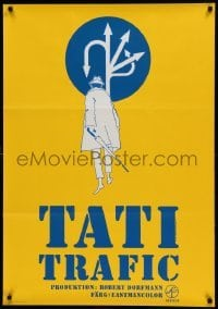 4y065 TRAFFIC Swedish '73 Jacques Tati as Mr. Hulot, cool completely different art!