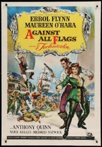 5a004 AGAINST ALL FLAGS linen 1sh '52 Brown art of pirate Errol Flynn & sexy swashbuckling O'Hara!