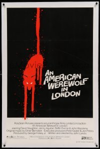 5a001 AMERICAN WEREWOLF IN LONDON linen int'l 1sh '81 bloody wolf over black background, rare!