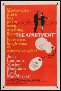5a005 APARTMENT linen 1sh '60 Billy Wilder, Jack Lemmon, Shirley MacLaine, cool key-in-lock art!