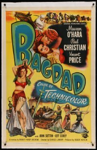 5a008 BAGDAD linen 1sh '50 art of Maureen O'Hara in sexiest harem outfit + Vincent Price on horse!