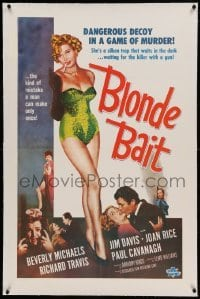 5a016 BLONDE BAIT linen 1sh '56 full-length sexy smoking bad girl Beverly Michaels is a silken trap!