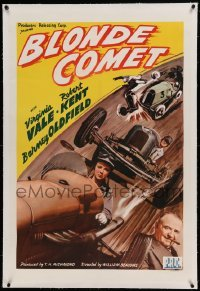 5a017 BLONDE COMET linen 1sh '41 female race car driver Virginia Vale is the best there is, rare!