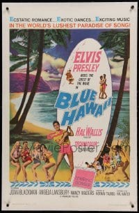 5a020 BLUE HAWAII linen 1sh '61 Elvis Presley plays a ukulele for sexy ladies on the beach!