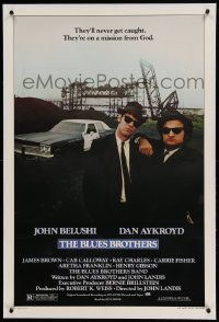 5a021 BLUES BROTHERS linen 1sh '80 John Belushi & Dan Aykroyd are on a mission from God!