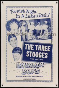 5a022 BLUNDER BOYS linen 1sh '55 Three Stooges Moe, Larry & Shemp, Turkish night in a ladies' bath!