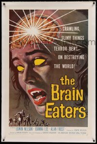 5a026 BRAIN EATERS linen 1sh '58 AIP, classic sci-fi horror art of girl's brain exploding!