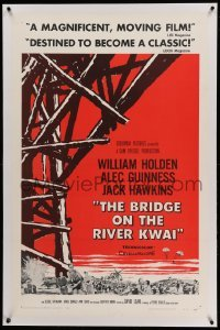 5a028 BRIDGE ON THE RIVER KWAI linen 1sh '58 William Holden, Alec Guinness, David Lean WWII classic!