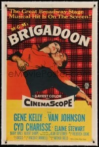 5a029 BRIGADOON linen 1sh '54 great romantic close up art of Gene Kelly & Cyd Charisse!