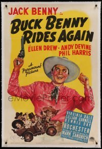 5a031 BUCK BENNY RIDES AGAIN linen 1sh '40 great art of cowboy Jack Benny drawing his gun by cast!