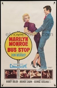 5a034 BUS STOP linen 1sh '56 full-length art of cowboy Don Murray holding sexy Marilyn Monroe!