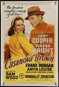 5a039 CASANOVA BROWN linen 1sh '44 art of Gary Cooper & Wright, greatest romantic comedy of all!