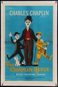 5a040 CHAPLIN REVUE linen 1sh '59 Charlie comedy compilation, great artwork by Leo Kouper!