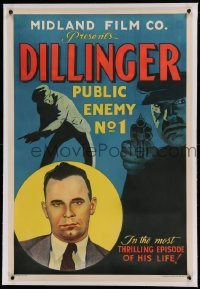 5a062 DILLINGER linen 1sh '34 documentary short right after Public Enemy No. 1 was killed, rare!
