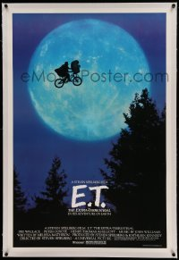 5a068 E.T. THE EXTRA TERRESTRIAL linen 27x40.5 1sh '82 Spielberg classic, iconic bike over moon!