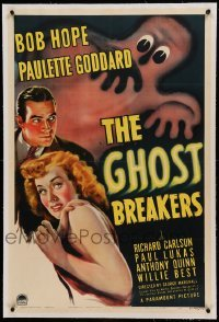 5a095 GHOST BREAKERS linen 1sh '40 great art of Bob Hope, Paulette Goddard & wacky spooky ghost!