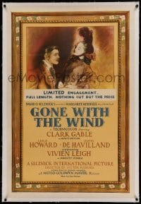 5a101 GONE WITH THE WIND linen style C.F. 1sh '41 Seguso art of Clark Gable & Vivien Leigh, rare!