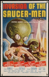 5a130 INVASION OF THE SAUCER MEN linen 1sh '57 classic Kallis art of cabbage head aliens & sexy girl