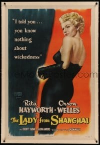 5a144 LADY FROM SHANGHAI linen 1sh '47 sexiest blonde Rita Hayworth knows nothing about wickedness!