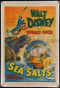 5a232 SEA SALTS linen 1sh '49 Disney cartoon, great art of Captain Donald Duck & his beetle friend!