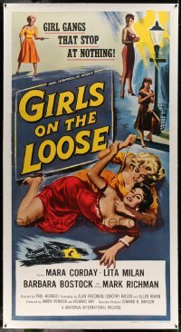 5b042 GIRLS ON THE LOOSE linen 3sh '58 classic catfight art of girls in gangs who stop at nothing!